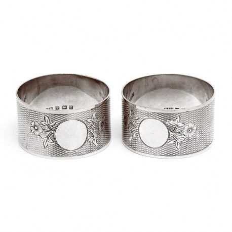 Pair of Vintage Silver Napkin Rings with a Floral and Engine Turned Design
