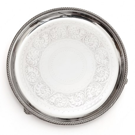 """Elkington & Co Silver Plated 12"""" Salver with a Rope Style Border"""