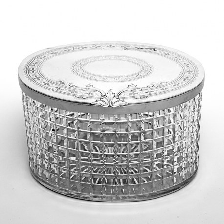 Oval Silver Plate and Cut Glass Box with a Flush Hinged Lid