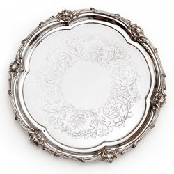 """Elkington 10.5"""" Silver Plated Salver with a Scroll and Floral Shaped Mount"""