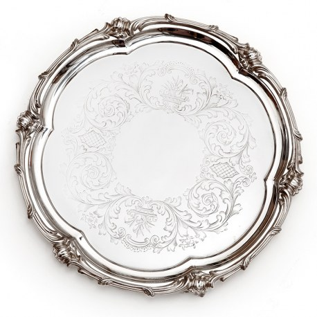 "Elkington 10.5"" Silver Plated Salver with a Scroll and Floral Shaped Mount"