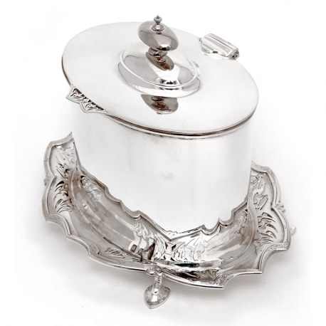 Antique James Deakin & Son Oval Silver Plated Biscuit Box