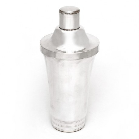 Vintage French Art Deco Silver Plated Three Section Cocktail Shaker