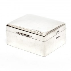 Antique Plain Silver Trinket or Cigarette Box with a Hinged Domed Lid (1919)