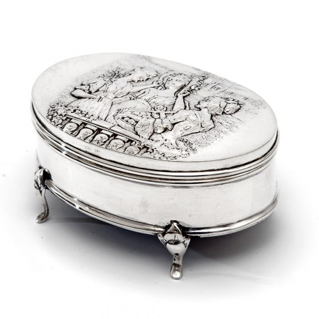 Antique Silver Jewellery Box Depicting Three Females in a Country Scene