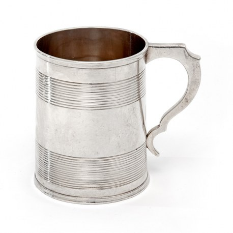 Antique Silver Christening Mug with a Reeded Banded Plain Body (1874)