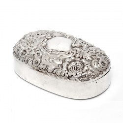 Sterling Silver Jewellery Box with a Plain Oval Body and a Hinged Floral and Scroll Lid