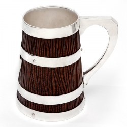 Victorian Oak and Silver Plated Mug with a Tapering Rustic Carved Body