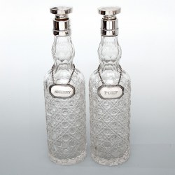 Pair of Chester Silver Spirit Decanters with Hobnail Cut Glass Bodies (1900)
