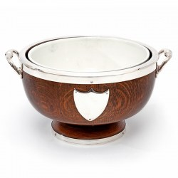 Edwardian Oak and Silver Plate Bowl with a China Liner
