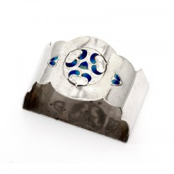 Jacobs and Son Demi-Lune Silver and Enamel Napkin Ring
