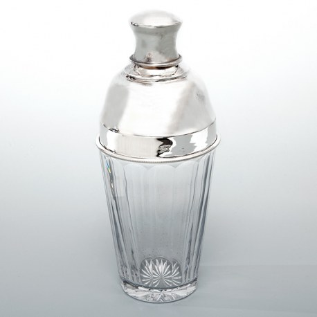 Vintage English Glass and Silver Plated Three Section Cocktail Shaker (c.1945)