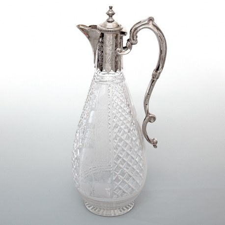 Victorian Silver Plate and Cut Glass Claret Jug Engraved with Grapes and Vines