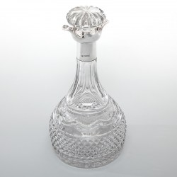 Cooper Brothers Silver Mounted Decanter with a Georgian Style Cut Glass Body