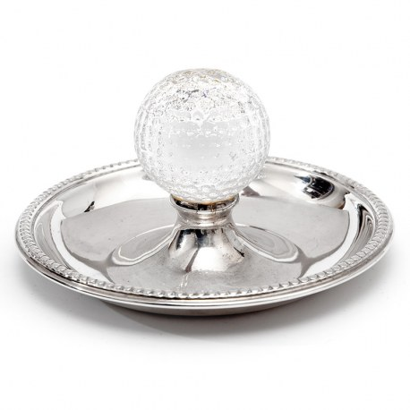 Vintage Golf Ash Tray in Silver Plate with a Central Glass Golf Ball (c.1950)