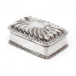 Victorian Silver Jewellery or Trinket Box with a Fluted Domed Hinged Lid