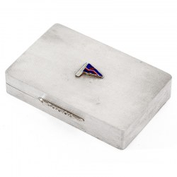 Silver Trinket Box with an Enamel Pennant for the Royal Naval Volunteer Reserve Yacht Club