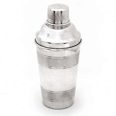 Silver Plated Three Section Cocktail Shaker with Three Engine Turned Bands