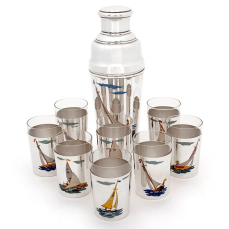 Vintage Silver Plated Cocktail Shaker with Eight Tumblers with Enamel Painted Sailing Boats