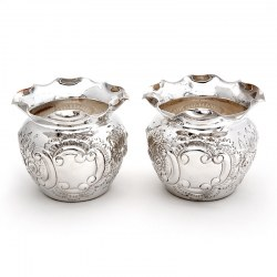 Pair of Victorian Globe Shaped Silver Plated on Copper Flower Pots (c.1895)