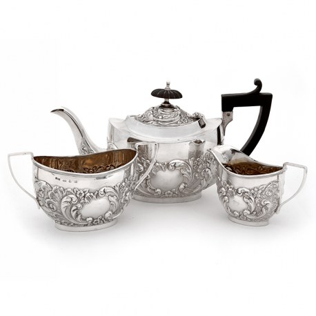 Victorian Oval Three Piece Silver Bachelor Tea Set (1899)