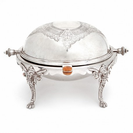 Antique James Dixon and Son Silver Plated Oval Revolving Butter Dish (c.1875)