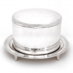 Walker & Hall Silver Plated Trinket or Biscuit Box with a Domed Hinged Lid