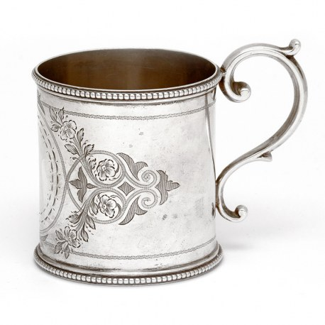 Victorian Silver Christening Mug Engraved with Floral Scenes (1887)