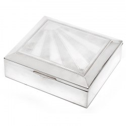 Vintage Silver Plate Box with a Hinged Lid Featuring a Star Burst and Engine Turned Design