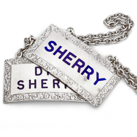 Pair of Rectangular Silver Sherry Decanter Labels with Blue Enamel Lettering
