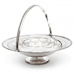Elkington & Co Silver Plated Circular Basket with a Beaded Border and Swing Handle