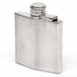 Vintage Square Silver Hip Flask with an Engine Turned Body
