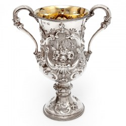 Victorian Silver Two Handle Trophy Cup Chased with Flowers and Scrolls