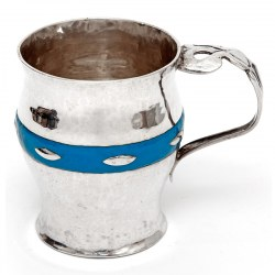 Arts and Crafts Christening Mug with Hammered Style Body and Blue Enamel Band