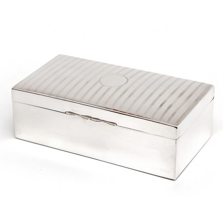 Silver Plated Cigar or Trinket Box with a Domed Lid with Alternate Stripes