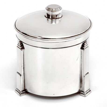 Hukin & Heath Art Deco Style Silver Plated Jar with Three Applied Stepped Feet
