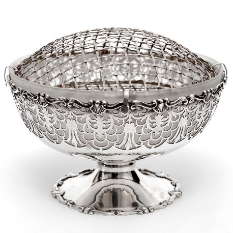 Mappin & Webb Silver Rose Bowl with Frosted Glass Liner and Flower Grill