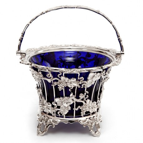 Large Victorian Silver Plated Sugar Basket with a Bristol Blue Liner
