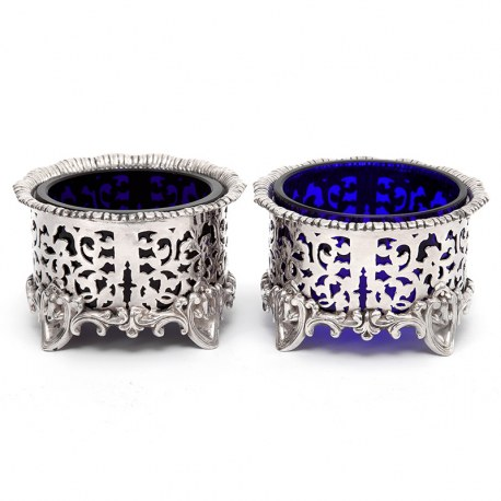 Pair of Elkington & Co Silver Plated Salts with British Blue Glass Liners