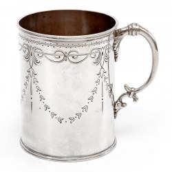 Victorian Silver Christening Mug in a Straight Body Form and Garland and Scroll Engraving