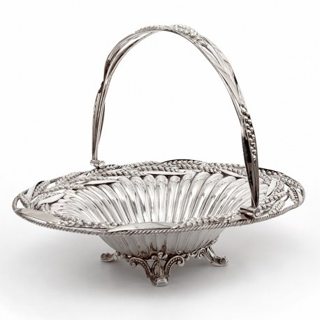 Victorian Oval Silver Plated Swing Handle Basket with Wheat and Rope Border on Four Cast Scroll Feet