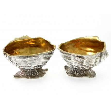 Pair of Reproduction Silver Plated Salts in the Shape of a Sea Shell