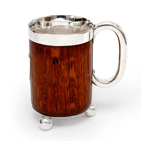 Antique John Grinsell & Son Oak and Silver Plate Half Pint Tankard (c.1890)