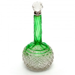 Victorian Silver Neck Perfume Bottle with a Graduated Green and Clear Glass Body