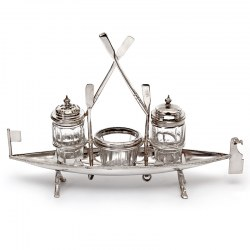 Unusual Victorian Silver Plate Novelty Rowing Boat Cruet Set