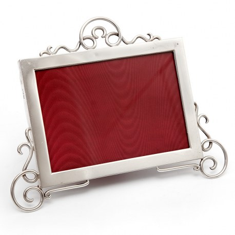 Edwardian silver Picture Frame with a Plain Mount and Thick Gauge Applied Scrolling
