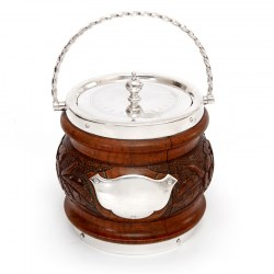 Antique Oak and Silver Plated Barrel with a Rope Swing Handle and White China Liner