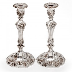 Pair of Decorative Victorian Silver Plated Candle Sticks in a High Rococo Form