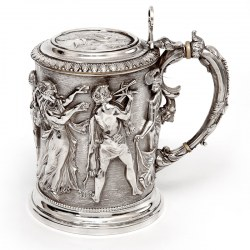 Ornate Victorian Electro Formed Silver Plated Lidded Tankard with Figural Scenes of Musicians