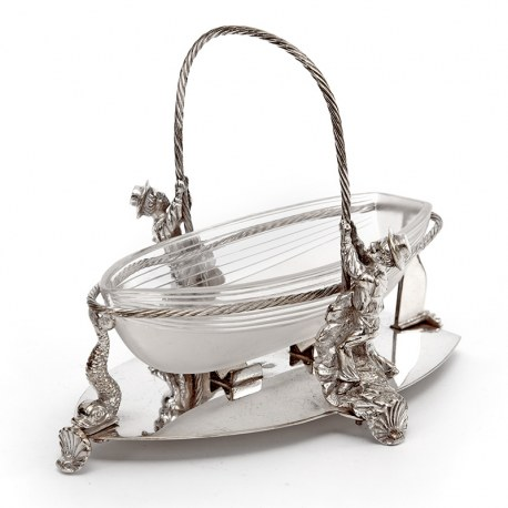 Victorian Nautical Theme Serving Dish with a Cut Glass Boat Hull in a Silver Plated Rope Frame